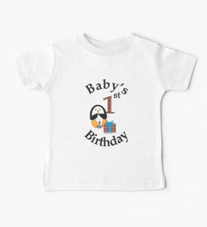 Baby's 1st Birthday Penguin Baby Tee
