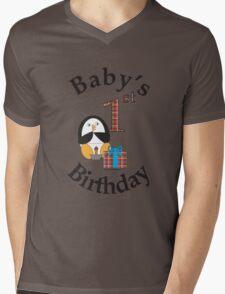 Baby's 1st Birthday Penguin Mens V-Neck T-Shirt