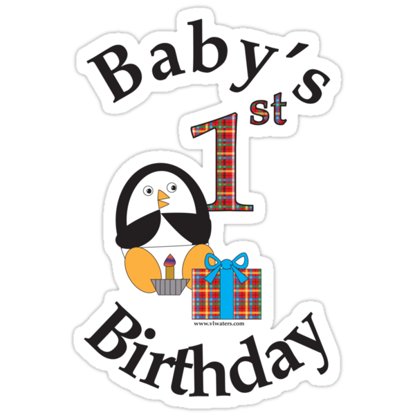 Baby's 1st Birthday Penguin by ValeriesGallery