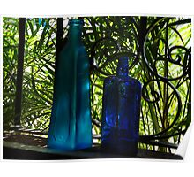 Blue Buddles in a Window with green Palms - Botellas Azules en una Ventana Poster