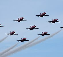 Red Arrows at Bournemouth Airport by LorrieBee