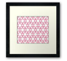 Geometric abstract pattern in pink and white Framed Print