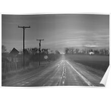 Back Country Road Sunrise BW Poster