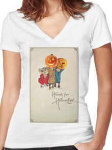 Kids With Decorations (Vintage Halloween Card) Women's Fitted V-Neck T-Shirt