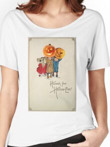 Kids With Decorations (Vintage Halloween Card) Women's Relaxed Fit T-Shirt