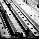 Escalator at Canary Wharf Station London by Darren Sharp