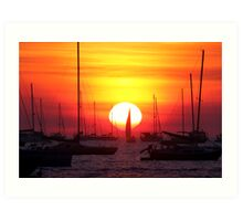 Sunset Sailing Boat Art Print
