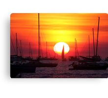 Sunset Sailing Boat Canvas Print