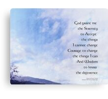 Serenity Prayer Blue Sky Gentle Clouds Canvas Print