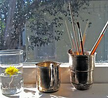 Still Life with Dandelion & Paintbrushes by Gilly Harris