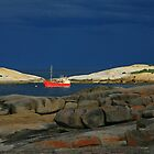 red boat. bicheno, tasmania by tim buckley | bodhiimages photography