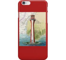Cape Fourchu Lighthouse NS Canada Map Cathy Peek iPhone Case/Skin
