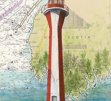 Cape Fourchu Lighthouse NS Canada Map Cathy Peek by Cathy Peek