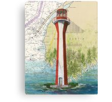 Cape Fourchu Lighthouse NS Canada Map Cathy Peek Canvas Print