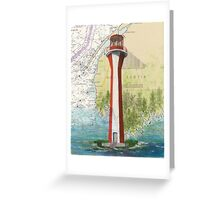 Cape Fourchu Lighthouse NS Canada Map Cathy Peek Greeting Card