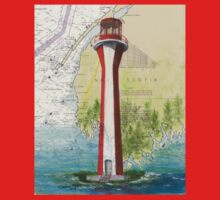 Cape Fourchu Lighthouse NS Canada Map Cathy Peek One Piece - Short Sleeve