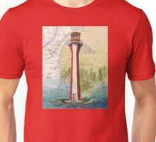 Cape Fourchu Lighthouse NS Canada Map Cathy Peek Unisex T-Shirt