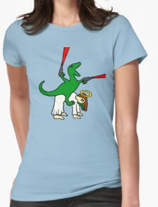 Dinosaur Riding Jesus Womens Fitted T-Shirt