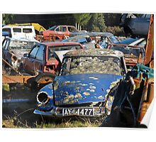 old blue car collecting moss Poster