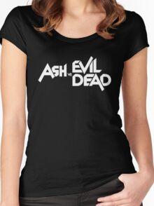 ASH VS EVIL DEAD TITLE White  Women's Fitted Scoop T-Shirt
