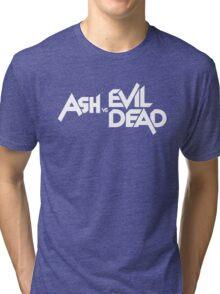 ASH VS EVIL DEAD TITLE White  Tri-blend T-Shirt