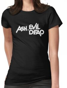 ASH VS EVIL DEAD TITLE White  Womens Fitted T-Shirt