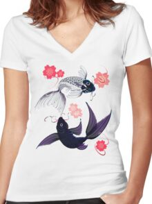 Yin and Yang Koi and Cherry Blossoms Women's Fitted V-Neck T-Shirt