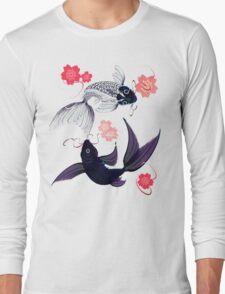 Yin and Yang Koi and Cherry Blossoms Long Sleeve T-Shirt