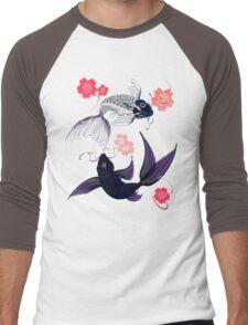 Yin and Yang Koi and Cherry Blossoms Men's Baseball ¾ T-Shirt