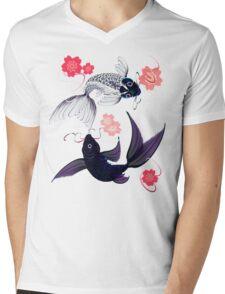 Yin and Yang Koi and Cherry Blossoms Mens V-Neck T-Shirt