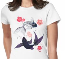 Yin and Yang Koi and Cherry Blossoms Womens Fitted T-Shirt