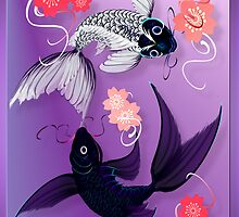 Yin and Yang Koi and Cherry Blossoms by Lotacats