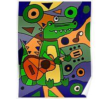 Funny Cool Alligator Playing Guitar Modern Art Poster