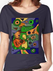 Funny Cool Alligator Playing Guitar Modern Art Women's Relaxed Fit T-Shirt