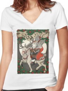 Nordic Santa - Red Women's Fitted V-Neck T-Shirt