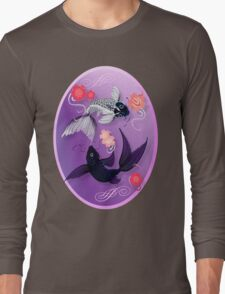 Yin and Yang Koi and Cherry Blossoms Oval Long Sleeve T-Shirt