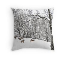 A winter scene - with Coyotes  Throw Pillow