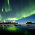 Northern lights over the pond by Frank Olsen