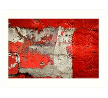 Dog on the red wall Art Print