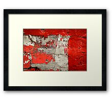 Dog on the red wall Framed Print