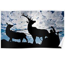 Silhouette Santa Christmas Card Poster