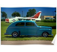 1946 Ford Custom Sedan with A7 Corsair in background Poster