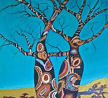 BOAB TREES with Aboriginal theme by gillsart