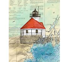 Cuckolds Lighthouse ME Nautical Chart Cathy Peek Photographic Print