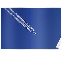 Airplane with condensation trails on blue sky. Poster