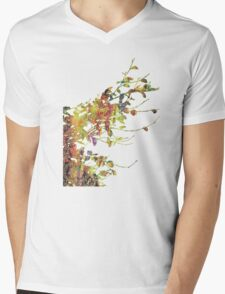 Leafy Damask Shadows Mens V-Neck T-Shirt