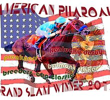 American Pharoah Horse Racing's Grand Slam Winner 2015 by Ginny Luttrell
