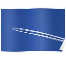 Airplane with contrails. Poster