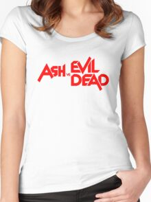 ASH VS EVIL DEAD TITLE Red Women's Fitted Scoop T-Shirt