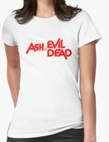 ASH VS EVIL DEAD TITLE Red Womens Fitted T-Shirt